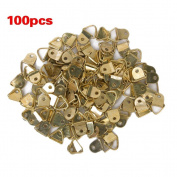 Tinksky 100pcs Small Triangle D-Ring Single Hole Picture Frame Hangers Holders with Screws