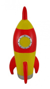 Red and Yellow Rocket Ship Coin Bank