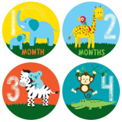Pinkie Penguin Safari Baby Monthly Stickers - Baby Milestone Stickers - 1-12 Months - Onesie Stickers - Baby Shower Gift
