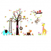 Jungle Zoo Animals Monkey,Elephant ,Owl and Fox Playing on Colourful Tree Wall Stickers Wall Decal
