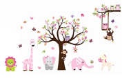 Cute Zoo Animal Wall Sticker with Monkey Playing on Tree Branch with Zebra,lion,elephant Giraffe and Owl Nursery Wall Stickers