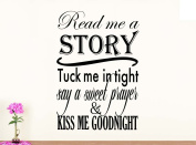 Wall Vinyl Decal read me a story say a prayer kiss me goodnight nursery vinyl saying lettering wall art inspirational sign wall quote decor