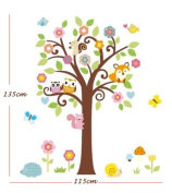 Little Animal Meeting on a Tree Vinyl Wall Decal Fox, Owls, Squirrels for Kids, Nursery Room
