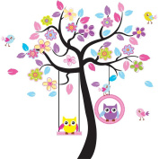 Design - The Colourful Owl Scroll Tree Wall Decals for Kids, Nursery Room