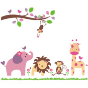 Elephant Monkey Giraffe Lion Have a Party Beautiful Wall Stickers - Boys Girls Kids Childrens Bedroom Nursery