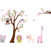 Jungle Animals Play in the Tree Wall Stickers - Boys Girls Kids Childrens Bedroom Nursery