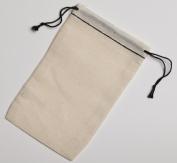 7.6cm x 13cm Black Hem and Black Double Drawstring Cotton Muslin Bags 50 Count Pack