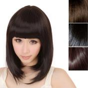 Sunward New Fashion Womens Ladies Short Straight Full Bangs Bobo Cosplay Human Hair Wig