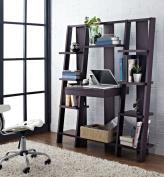 Ladder Bookcase/ Computer Desk with Modern Multiple Open Shelves