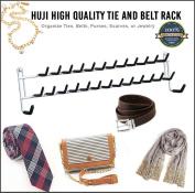 Huji High Quality Wall Mount Tie and Belt Rack Organiser, White