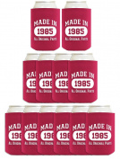 30th Birthday Gift Coolie Made 1985 Can Coolies 12 Pack Magenta