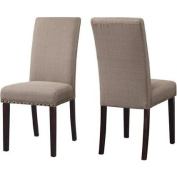 Pebble Stone Colour, Nail Head Upholstered Dining Chair,with Kiln Dried Hardwood Frame
