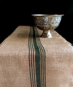 AK-Trading 32cm Inches X 270cm Burlap Table Runner with Stripes