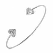 Rhodium Plated Sterling Silver Pave Set CZ Hearts End Open Cuff Bracelet - One Size