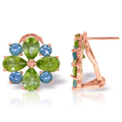14k Rose Gold Peridot and Blue Topaz French Clip Flower Earrings