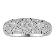 14k White Gold, Domed Band Ring Intricate Classic Design Brilliant Lab Created Gems