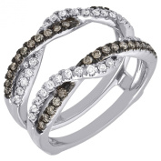 14K White Gold Brown and White Diamond Solitaire Engagement Ring Enhancer Wrap 0.51 Cttw
