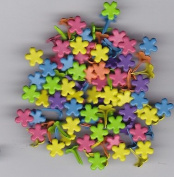 Mini Bright Coloured Flower Brads - 100ct