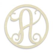 UNFINISHEDWOODCO Single Letter Circle Monogram-A, 48cm , Unfinished