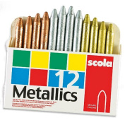 Scola Metallic Wax Crayons for Children Gold Silver Bronze for Children to colour and Decorate