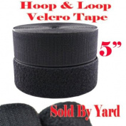 13cm Width Sold By Yard Black Sew on Hook & Loop - Black Premium Grade Non-adhesive Sew-on Style Sold Includes Hook and Loop Both Side