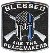Blessed are the Peacemakers Thin Blue Line Patch for Law Enforcement