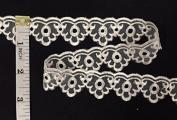 2.5cm Scalloped Organza Lace Trim, 10 Yard Lot, Ivory