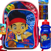 Jake and the Neverland Pirates Children's Backpack with Jake and the Neverland Water Bottle and Pencils School Supplies Gift Set