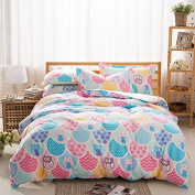 Cliab Owl Bedding Pink and Blue For Girls with Floral Polka Dots Full Duvet Cover Set 100% Cotton 4 Pieces