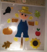 Fall Harvest Scarecrow Gel Window Clings ~ Colourful Scarecrow, Black Crow, Sunflower, Apple, Pumpkin, Leaves