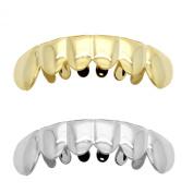 Hip Hop Lower Teeth Silver Platinum & Gold Tone Mouth Grillz Set (Bottom) 2 Pc Set