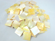 "20 Pieces Sea Yellow Abalone Shell 1.5cm(0.59"") Square. One Side Polished. For Mosaic Art Tiles, Musical Instrument Inlay."