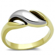 Women's Stainless Steel Two Tone Swirl Eternity Promise Ring, Ion Gold Plating, Size 5,6,7,8,9,10