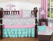 Boutique Skylar Turquoise Blue Pink Polka Dot and Grey Damask Girls Baby Bedding 9 Piece Crib Set