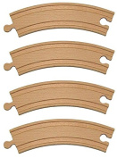 15cm Curve Wooden Train Track - Set of 4