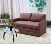 US Pride Furniture Kathy Reversible 13cm Foam Fabric Loveseat and Sofa Bed Couch Sleeper, Brown
