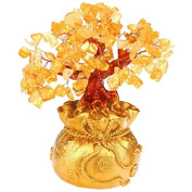 Chinese Traditional Feng Shui Citrine/ Yellow Gem Stone Crystal Money Tree in a Money Bag Pot for Wealth Luck Home Office Desktop Decoration (Small