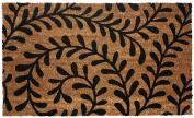 J & M Home Fashions Vinyl Back Coco Doormat, 46cm by 80cm , Black Ferns