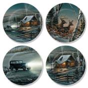 Winter Cabin Scene Mini Plates by Terry Redlin