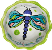 Caffco International Dana Wittmann Round Ceramic Serving Bowl with Ruffle Edge, Dragonfly