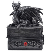 Mythical Guardian Dragon Trinket Box Statue with Hidden Book Storage Compartment for Decorative Gothic & Mediaeval Home Decor Sculptures and Figurines As Jewellery Boxes or Magical Fantasy Gifts for Office Study Library