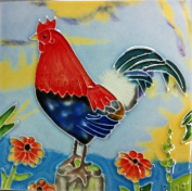 Continental Art Centre SD-030 10cm by 10cm Rooster No.4 Ceramic Art Tile