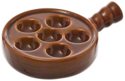 Browne Foodservice 744045 Ceramic 6-Hole Escargot Plate with Handle, Brown, 13cm