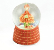 """MusicBox Kingdom 18114 Glitter Globe with Orange Flower Lady Music Box, Turns to The Melody """"Oh What a Beautiful Morning"""""""