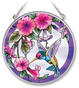 Amia Handpainted Glass Pink Morning Glory and Hummingbird Suncatcher, 11cm