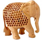 Hand Carved Elephant Wooden Jali Figurine Statue