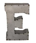 Rustic Arrow Letter E for Decor, 36cm , Silver