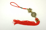 Red Feng Shui Ba Gua Yin Yang Golden Toad Tassel