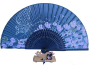 Silver J Handheld hand fan with silk fan case and butterfly tassel, glittery butterfly and roses, handmade gift, bamboo and silk fans