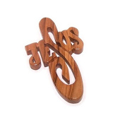 JESUS thick and hand carved olive wood Cross - Hanging ( 10cm or 4 inches ) with Certificate